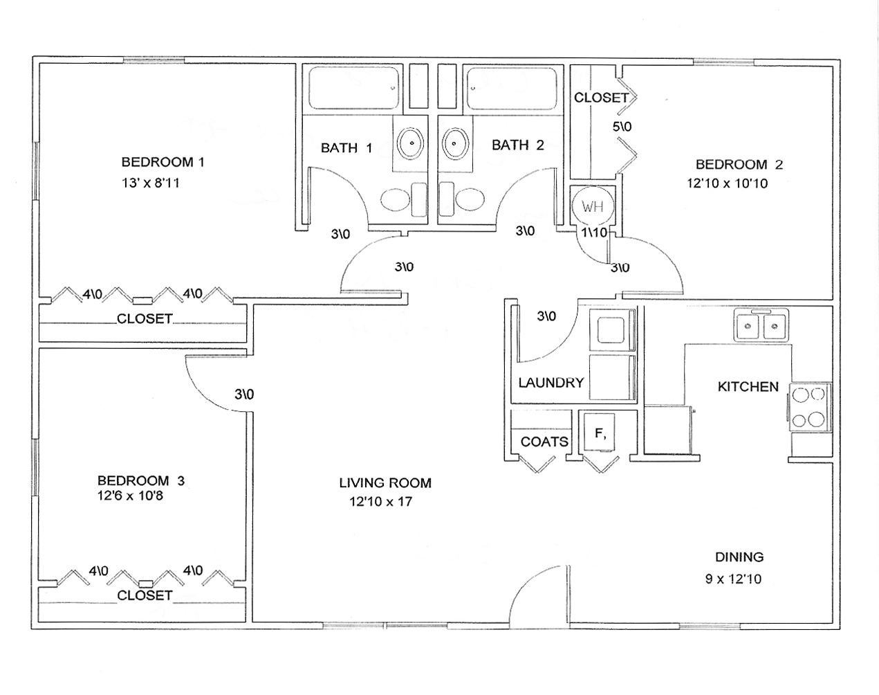 Floor plan 3 bedroom joy studio design gallery best design for Three bedroom plan